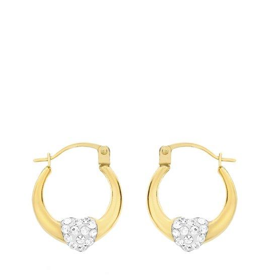 Nine - 9 Karaat oorringen ovaal hart kristal