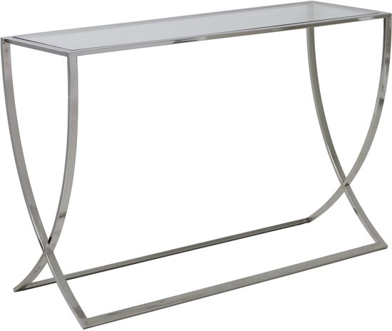 Sidetable Met Glas.Light Living Sidetable Molina Table 120x40x80 Cm Glas Nikkel