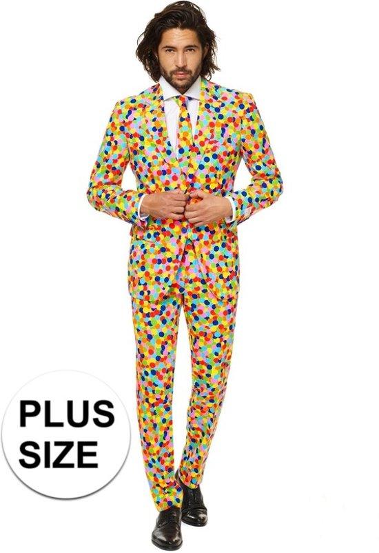 Kostuum Heren.Grote Maat Heren Kostuum Met Confetti Print 56 3xl