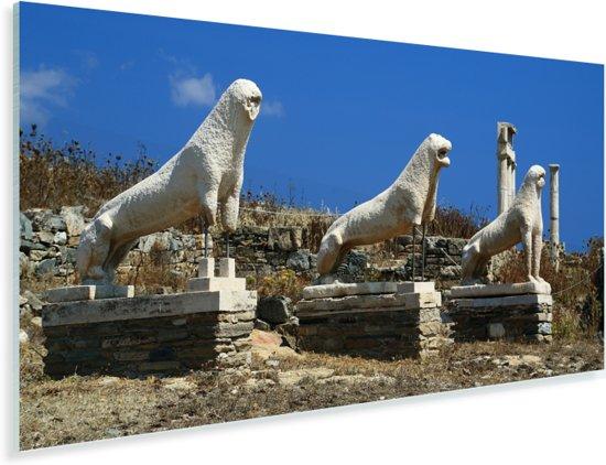 Panorama van de Leeuwen van Delos Plexiglas 80x40 cm - Foto print op Glas (Plexiglas wanddecoratie)