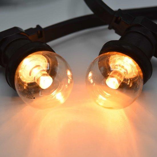 Prikkabel set met LED lampen, 50 meter met 100 fittingen - 1,5 watt lampjes met lens 2650K
