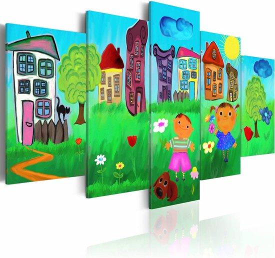 Schilderij - Zorgeloze jeugd,   5luik