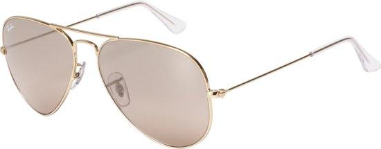 Ray-Ban RB3025 001/3E - Aviator (Gradiënt) - zonnebril - Goud / Zilver-Roze Spiegel - 58mm