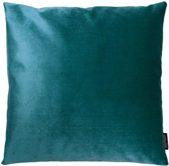 Velvet Petrol Kussenhoes | Fluweel - Polyester | 45 x 45 cm | Blauw - Groen