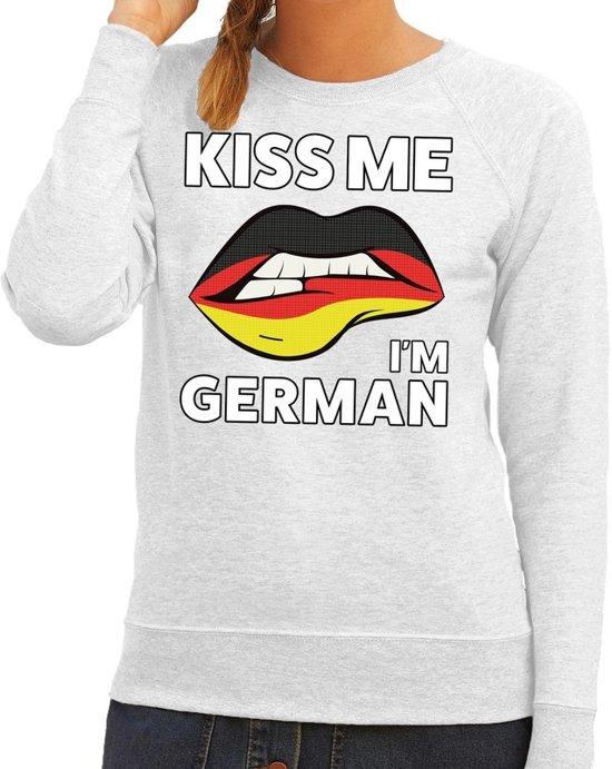 Kiss me I am German sweater grijs dames M