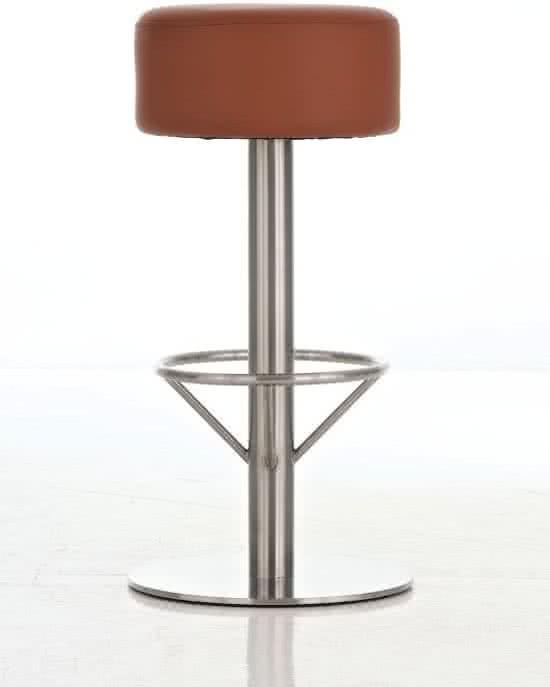 24Designs Barkruk Tessa - Zithoogte 85 cm - Mat RVS onderstel - Kunstleren zitting - Lichtbruin