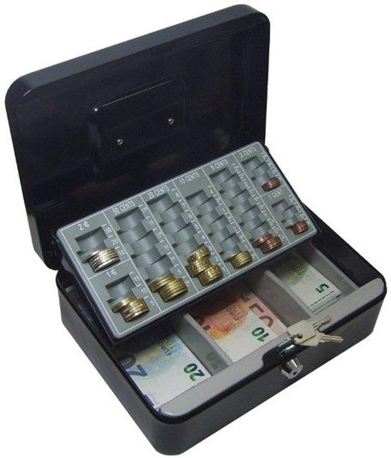 Afbeelding van Zwarte Geldkist met kleingeldlade Metaal 250 x 180 x 90 mm geldkist kluis