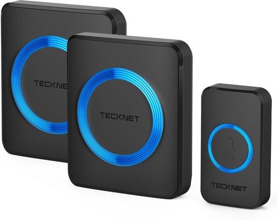 TeckNet Draadloze Deurbel met 2 Ontvangers - Plug&Play - Regelbaar Volume / Melodie / Oplichtende LED's