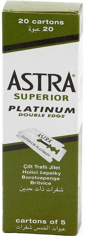 Astra Superior Platinum Stainless scheermesjes - Double Edge Blade - RVS - 100 stuks
