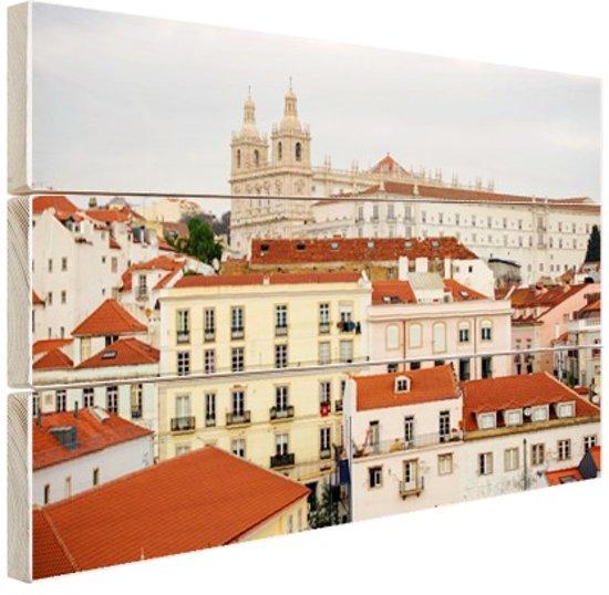 Gebouwen Lissabon Hout 120x80 cm - Foto print op Hout (Wanddecoratie)