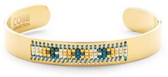 CO88 Collection 8CB-90126 - Stalen open bangle met Miyuki beads - one-size - goudkleurig
