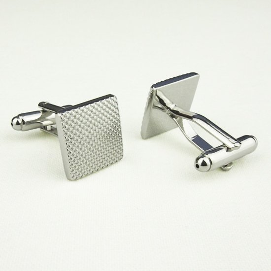 Manchetknopen - Vierkant Bewerkt - Zilver