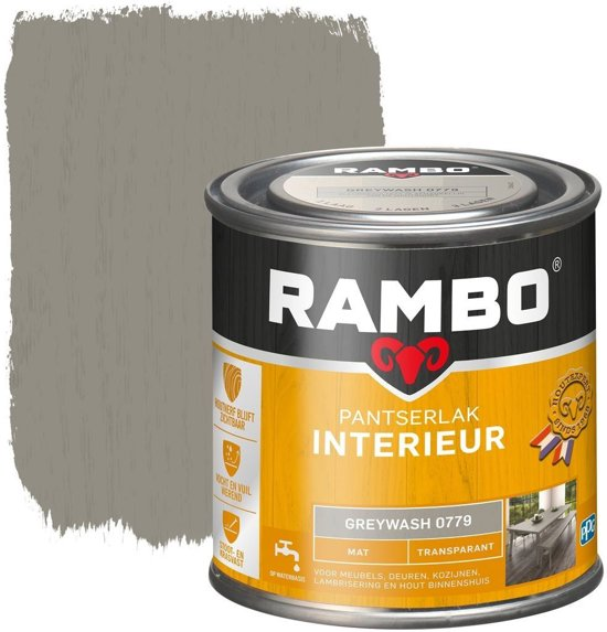 Rambo Pantserlak Interieur Transparant Mat Greywash 0779-0,75 Ltr