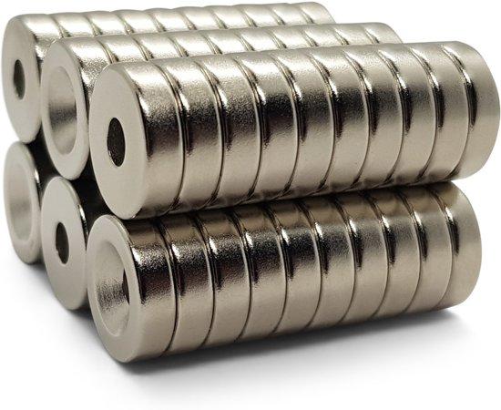 Super sterke ring magneten - Rond - 15 x 4 mm met 4 mm gat - 60 Stuks