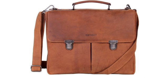 18940925df9 bol.com | DSTRCT Werktas A4 met Laptopvak 15.4'' Wall Street Cognac