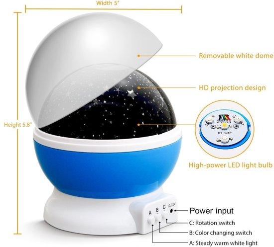 Sterrenhemel Verlichting Kinderkamer - Moon Light Projector - Nachtlampje kind   baby - Nachtlamp - Snoezellamp - Spacelamp - Cadeau kind + Bijbehorende oplaadkabel! (roze)