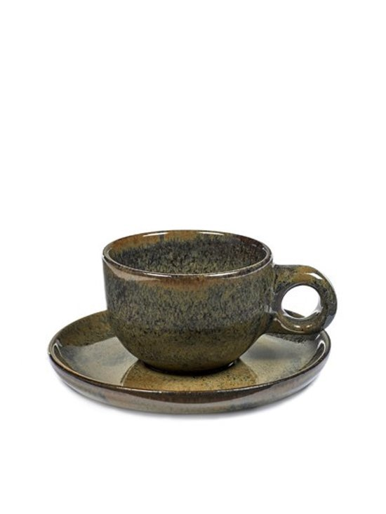 SURFACE BY SERGIO HERMAN: set van 8 cafe lungo tassen met ondertas indi grey (8stuks)