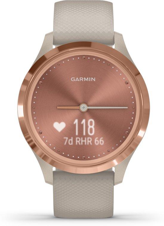 Garmin Vivomove 3S - hybride smartwatch - Rozegoud/zandkleurig