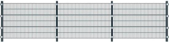 vidaXL Hekpaneel met paaltjes antracietgrijs 6 m 1,2 hoog