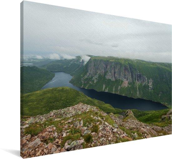 Uitzicht over het Nationaal park Gros Morne in Canada Canvas 60x40 cm - Foto print op Canvas schilderij (Wanddecoratie woonkamer / slaapkamer)