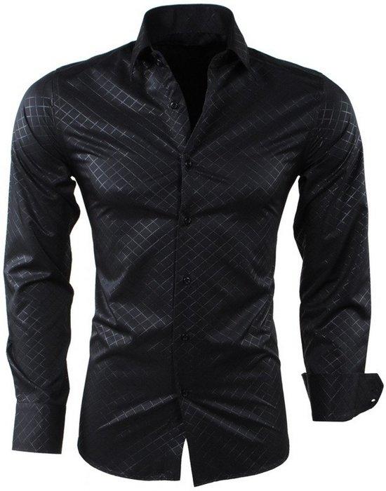 Overhemd Strijkvrij Slim Fit.Montazinni Heren Overhemd Geruit Kreuk En Strijkvrij Slim Fit Zwart