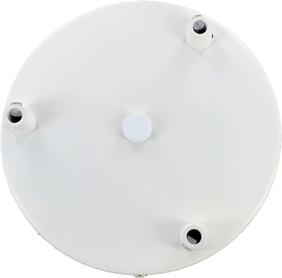 Plafondplaat rond 35cm met beugel en 3 gaten M10 kleur wit