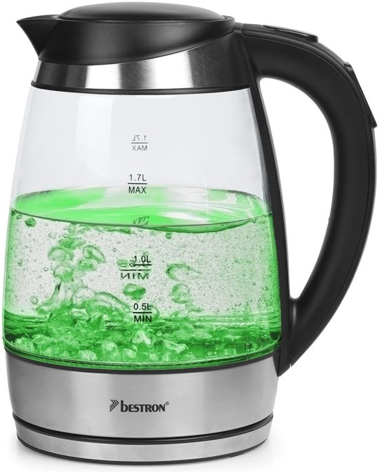 Bestron Waterkoker digitaal AWK683 2200 W 1,7 L glas meerkleurig