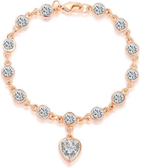 Roxi Armband - Hart Bedel/Hanger - Staal Roséverguld- 18 cm