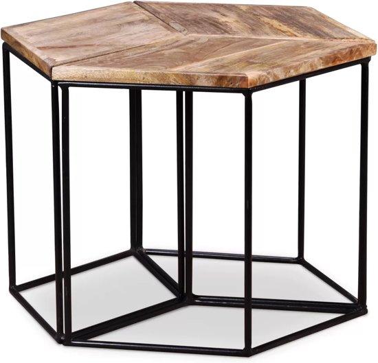 Bijzettafel 3 Delig.Salontafel Tafel Coffee Table 3 Delig Mango Hout Salontafel Bijzettafel Set 3 48x48x40 Cm