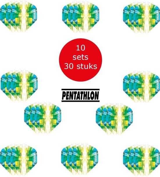Dragon Darts - 10 sets (30 stuks) Pentathlon Explosion - darts flights - super stevig - blauw-groen - dartflights - dart flights