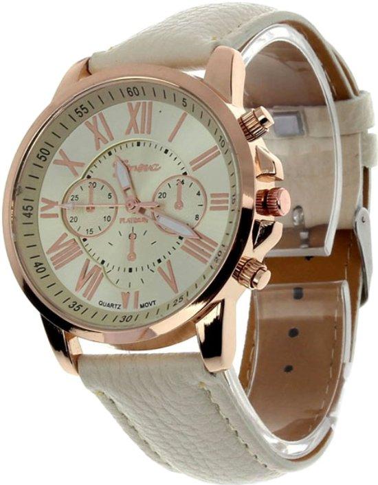 Fako Bijoux® - Horloge - Geneva - Roman - Crème