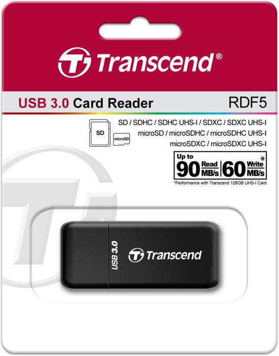 Transcend RDF5 USB 3.0 Zwart geheugenkaartlezer