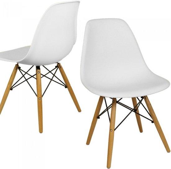 bol.com | Design kuipstoel, stoel, eetkamer stoel - Wit (per set)