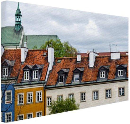 Huizen Warschau Canvas 60x40 cm - Foto print op Canvas schilderij (Wanddecoratie woonkamer / slaapkamer) / Steden Canvas Schilderij