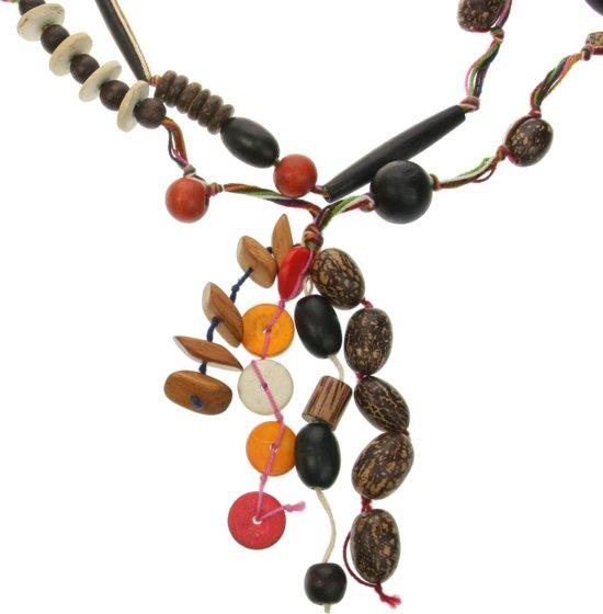 Lange gekleurde ketting met houten kralen - Dames - Hout - 100 cm