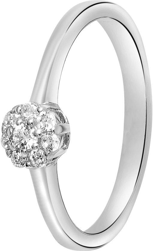 Lucardi - Zilveren ring gerhodineerd 4mm met zirkonia