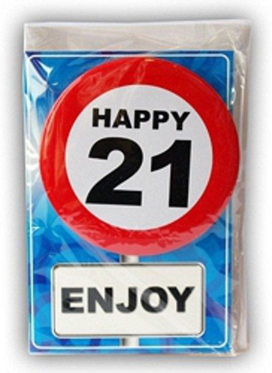 kaart 21 jaar bol.  Happy Birthday kaart met button 21 jaar, Merkloos  kaart 21 jaar