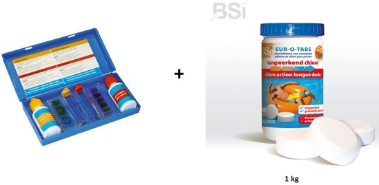Zwembad chloor kit: Test kit + langwerkend chloor 1kg (tabletten)