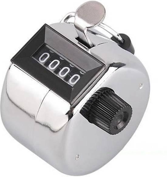 Handteller - Hand Tally Counter - Personenteller - Teller - 4 cijferig - Zilver