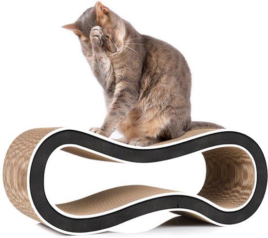 Cat-On® design kartonnen krabmeubel SINGHA M - 000G zwart met witte rand