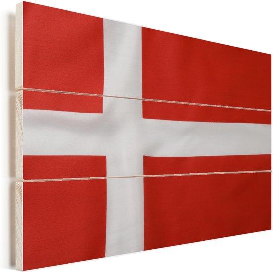 Close-up van de Deense vlag Vurenhout met planken 60x40 cm - Foto print op Hout (Wanddecoratie)