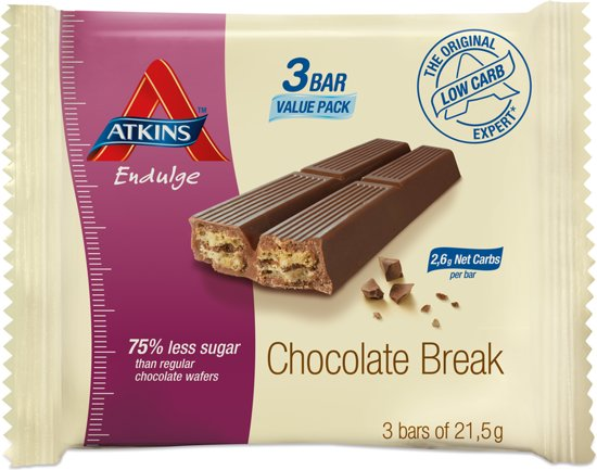 Atkins Endulge Maaltijdreep Chocolade Break - 3 x 21,5 gram
