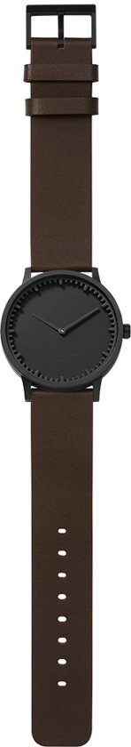 Tube watch T40 black / brown leather strap