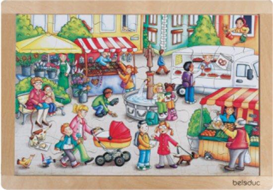 Houten raampuzzel markt