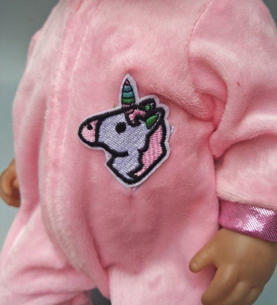 Poppenkleding, geschikt voor Baby Born pop, Unicorn / Eenhoorn Onesie + Ballerina pakje - Meisje