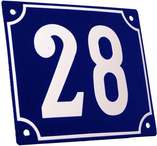 Emaille huisnummer blauw/wit groot nr. 28 18x15cm