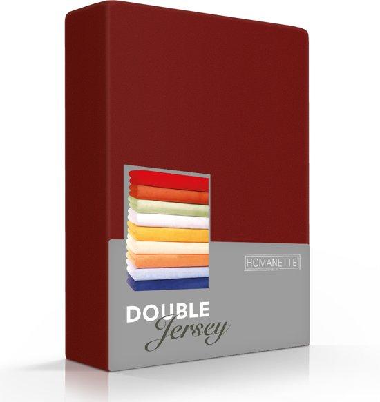 Comfortabele Dubbel Jersey Hoeslaken Bordeaux | 180x220| Heerlijk Zacht | Extra Dikke Kwaliteit