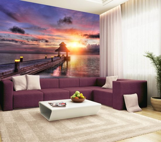 Fotobehang, Muurposter, Malediven zonsondergang 350 x 260 cm. Art. 97026