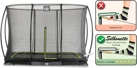 EXIT Silhouette inground trampoline 244x366cm met veiligheidsnet - zwart