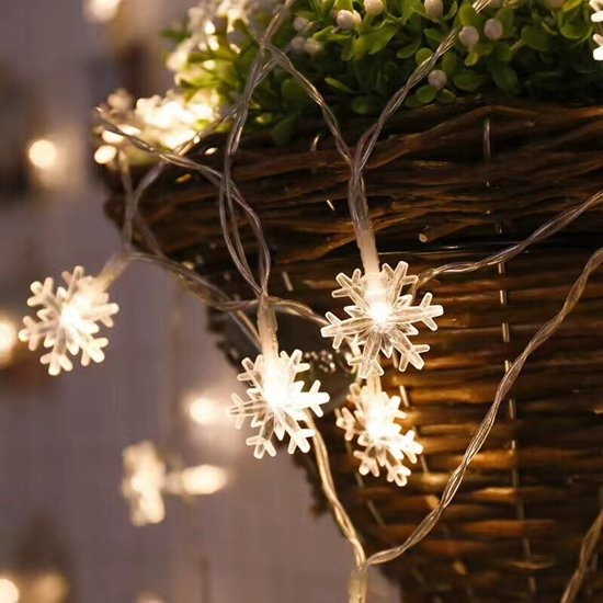 10Leds kerstboom sneeuwvlokken LED string fee licht Xmas Party Home bruiloft tuin Garland kerst LED verlichting decoratie (warm wit)